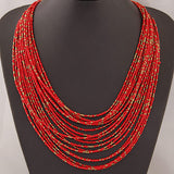Statement Necklace for Women Collier Femme Fashion Boho Beads Multi-layer Choker Necklaces & Pendants Bijoux Collares