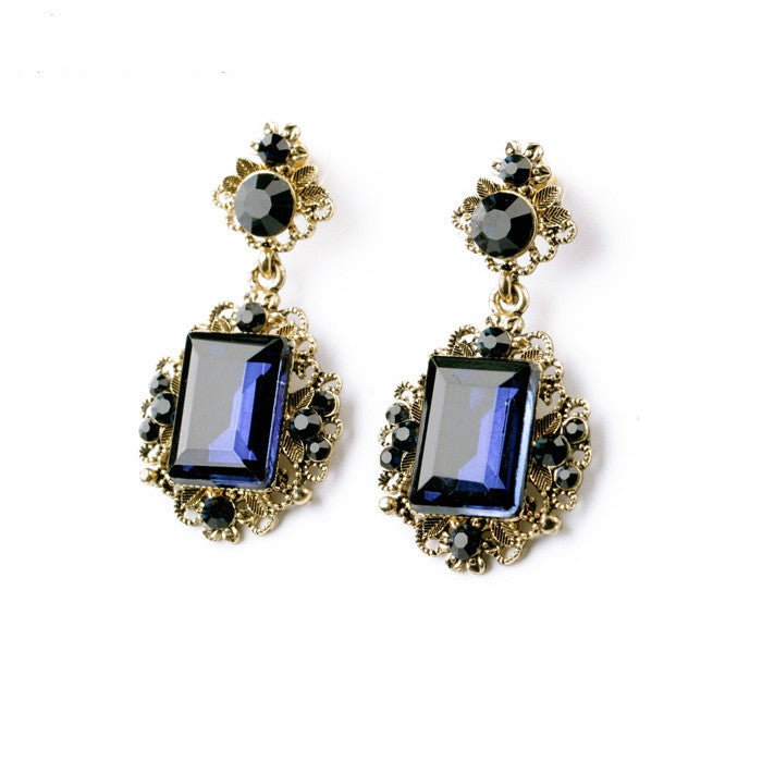 Statement Fashion Women Jewelry Elegant Antique Square Blue Resin Stud Earrings For Girls