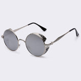 Steampunk Vintage Sunglass Fashion round sunglasses women brand designer metal carving sun glasses men oculos de sol