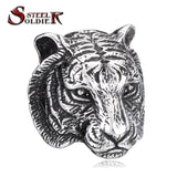 Steel soldier Domineering Tiger Head Ring Stainless Steel Unique Animal Ring For Man Biker Punk Style
