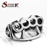 Steel soldier High Quanlity New Men's repair tool Ring, 316L Stainless Steel cool fist skull Rings fashion Jewelry