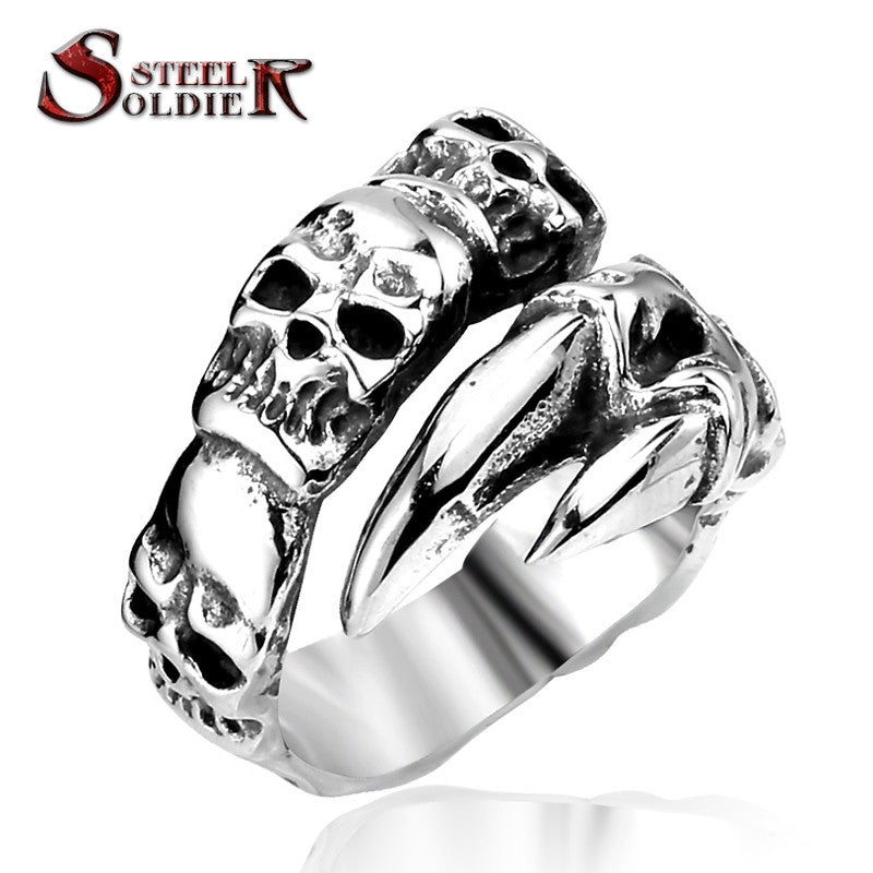 Steel soldier New Open Skull Hand Ring Stainless Steel Man's Fashion Jewelry Biker Punk Jewelry