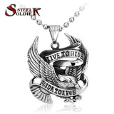 Steel soldier Stainless Steel biker eagle pendant Live To Ride Necklace Pendant Titanium high quality Jewelry