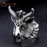 Steel soldier Stainless Steel goat Ring New men vintage Jewelry