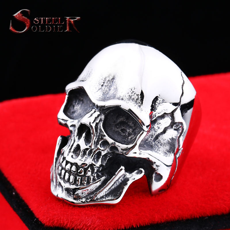 Steel soldier Wholesale&Drop shipping Stainless Steel Skull Ring punk biker Man Personality Jewelry