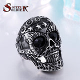 Steel soldier arrival stainless steel men punk skull jewelry vintage high quality men skull ring