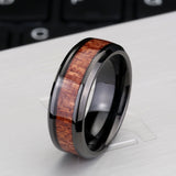 Steel soldier black ring with dark red wood inlay inside ring men unique fashion engagement jewelry