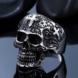 Steel soldier cross skull stainless ring punk men retro jewelry new style factory price skull ring for men