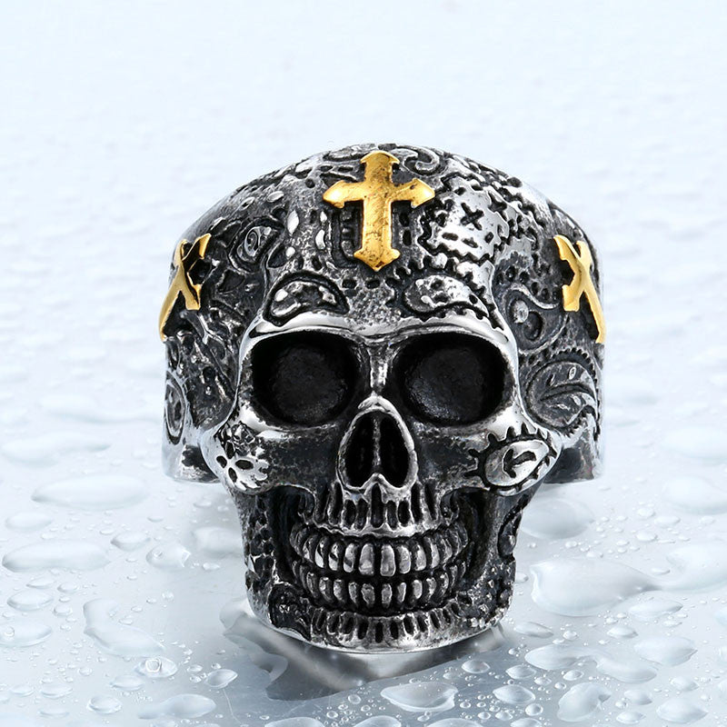 Steel soldier cross skull stainless ring punk men retro jewelry new style skull ring for men