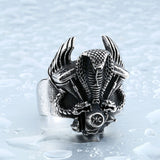 Steel soldier retro snake biker ring stainless steel punk personality motor cycle men adjustable jewelry