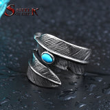 Steel soldier wholesale stainless steel feather with stone opening ring popular jewelry