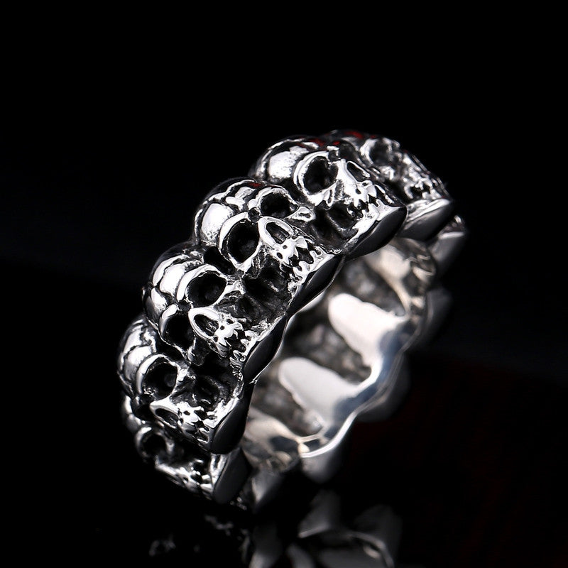 Steel soldier stainless steel men punk skull ring vintage domineering skull 316l steel jewelry