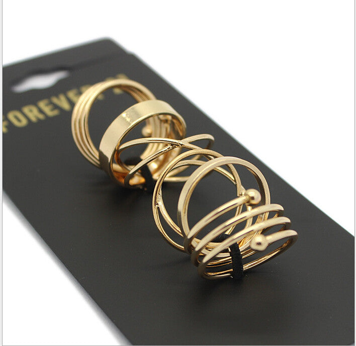 Summer style Fashion Fine Jewerly High Quality Punk Style Gold Plated Rings for Women