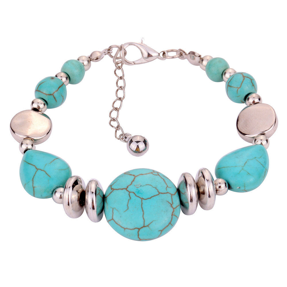 Summer style hot selling tibetan silver bangle Bracelet Fine Jewelry turquoise bracelet for Women and Men