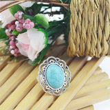 Summer Style Ring New Vintage Tibet Silver Plated Color Ring Turquoise Finger Ring for Women Fine Jewelry Gift