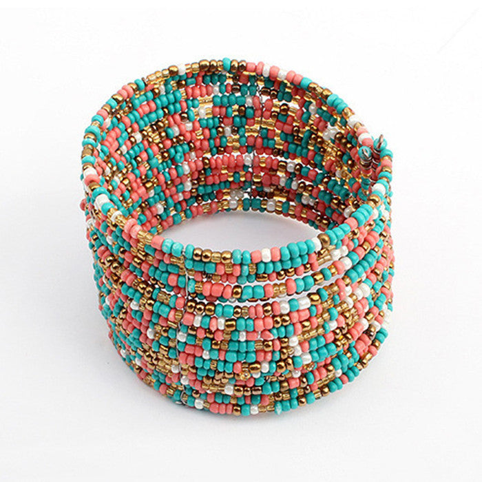 Sunshine Bohemian style colourful beads charm Bracelets Suit For Women gift Evening Dress fashion fine jewelry