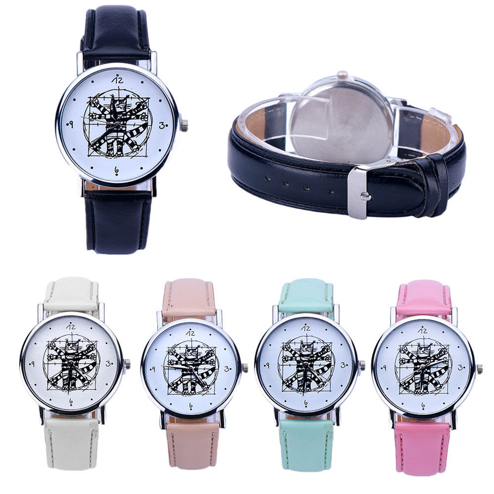 Girls Cute Watch Women Leather Analog Quartz Wrist Watch Bracelet Hour Boy Girl Cat Printed Montre Best Gift