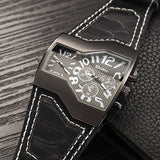 Super Cool Oulm Brand Men Quartz Watches Double Time Show Snake Band Casual Men Sports Watches Male Military Clock