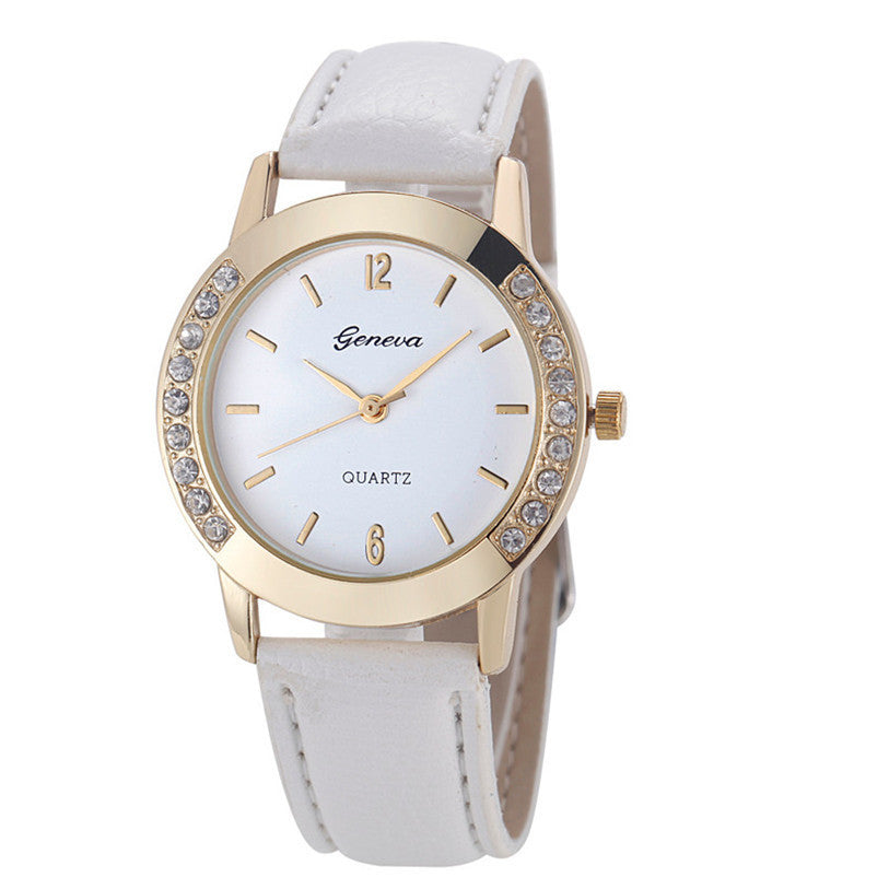 Superior New Fashion Diamond Analog Faux Leather Quartz Wrist Watch for Women