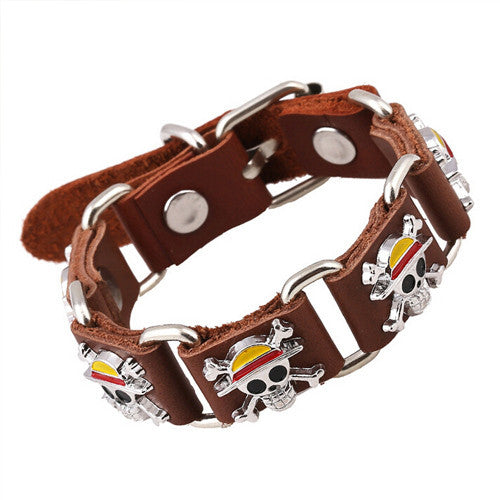 Surfer Genuine Leather Buckle Belt Men Bracelet ONE PIECE Cartoon SKULL Rivet Cuff Bracelets Cool Stainless Steel Link Bangles