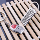 Mouse and Keyboard Shaped Metal Keychain
