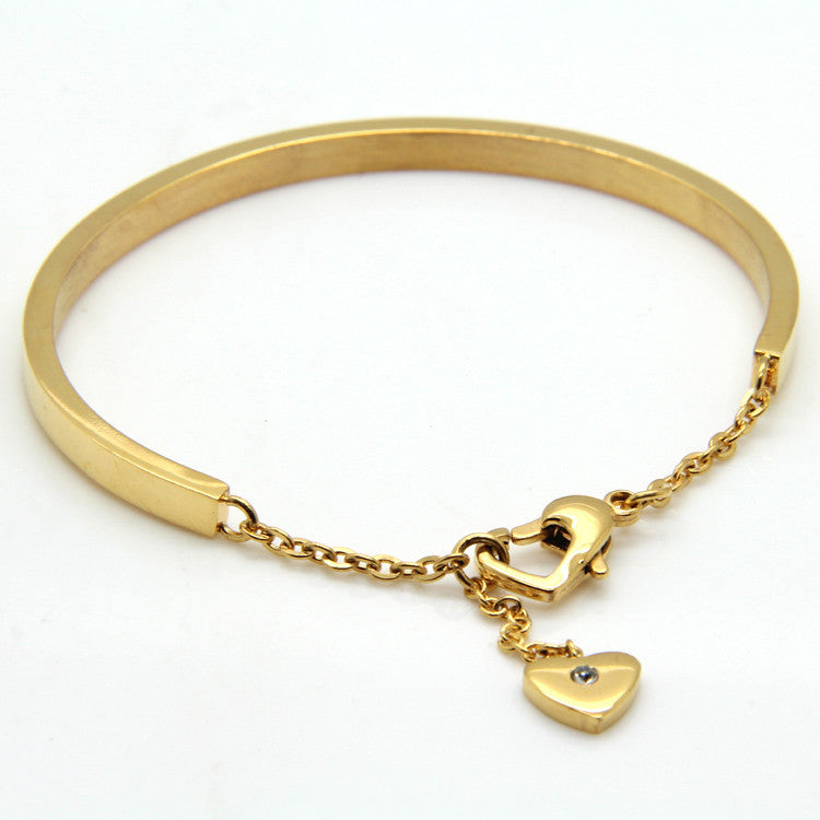 TOP QUALITY Pretty Lady Gold Bangle Women's Lover Bracelet Jewelry Metal Bracelets Bangles Heart-Shaped Accessories