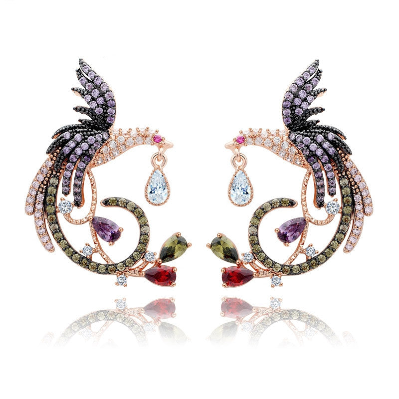 Brand Unique New Arrival Jewelry Top Quality White&Rose Gold Plated Clear Multi CZ Phoenix Stud Earrings for Women Wedding
