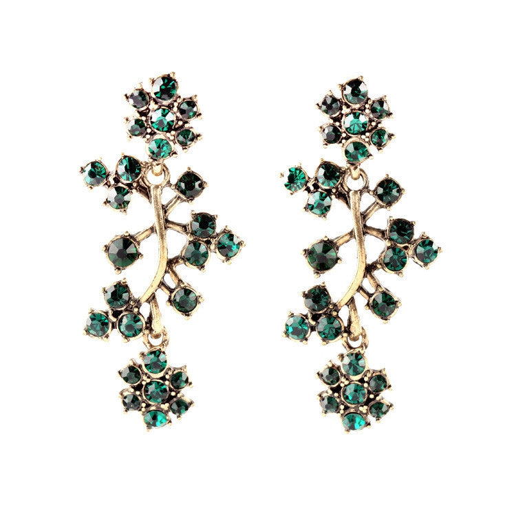 Tide All Match Clearly Sparkly Earrings Crystal Branches Green Earrings