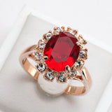 Top Quality Rose Gold Plated Created Emerald Finger Rings Elegant Brand Jewelry CZ Austrian Crystal For Women