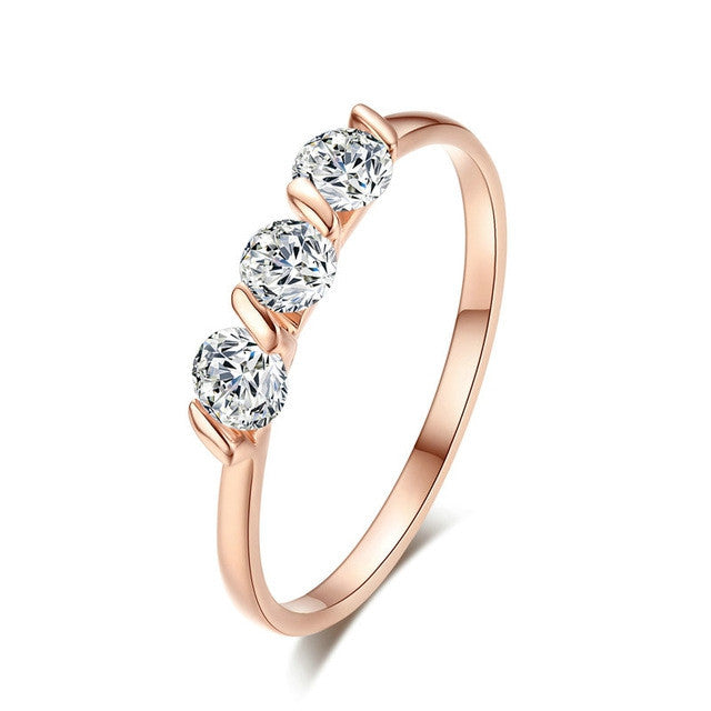 Top Quality Concise Crystal Ring Rose Gold Plated Austrian Crystals Full Sizes