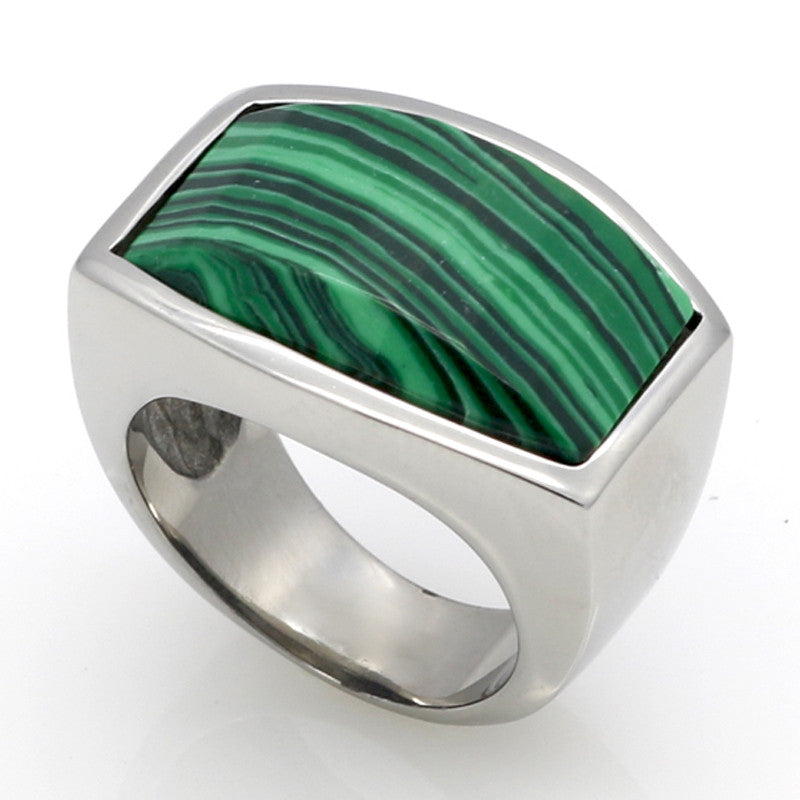 Top Quality Fashion Jewelry 316L Stainless Steel Malachite/Lapis Lazuli Natural Stone Ring For Men Platinum Gold Birthday Gift