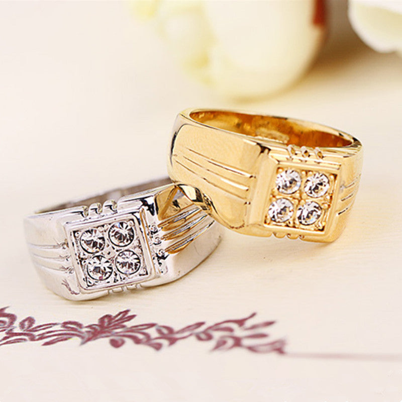 Top Quality ITALINA Brand Jewelry 18K Real Gold Plated Men Ring With AAA+ CZ Diamond Party Gift