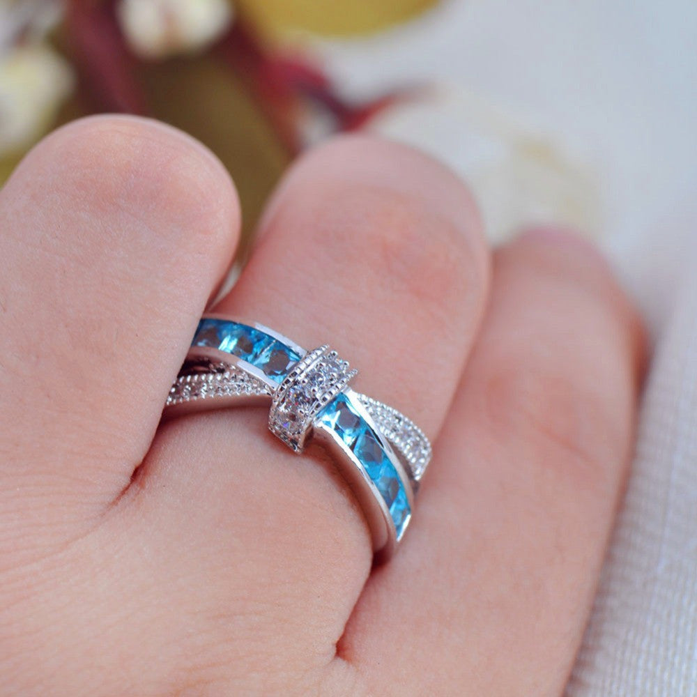 Top Quality Light Blue Female Ring White Gold Filled Jewelry Vintage ...
