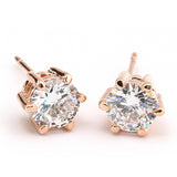 Top Quality RA Six Claws 5mm 0.5ct Stellux CZ Diamond 18K Real Gold Plated Stud Earrings Jewelry Crystal