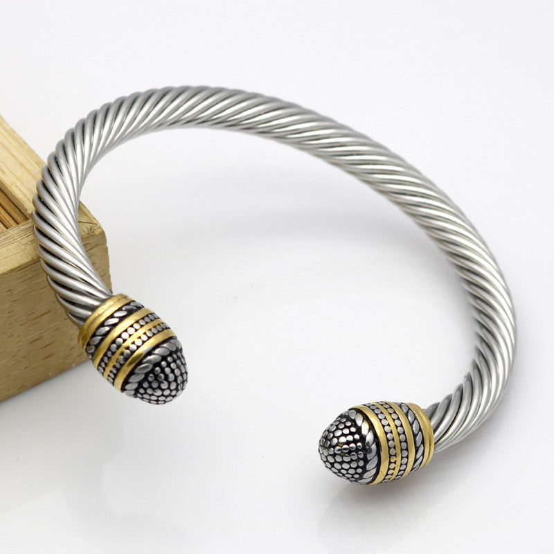 Top Quality Silver & 18K Yellow Gold 6.50 MM Cable Bracelet Antique Bangle Two-color Vintage Metal Rope Fashion Jewelry