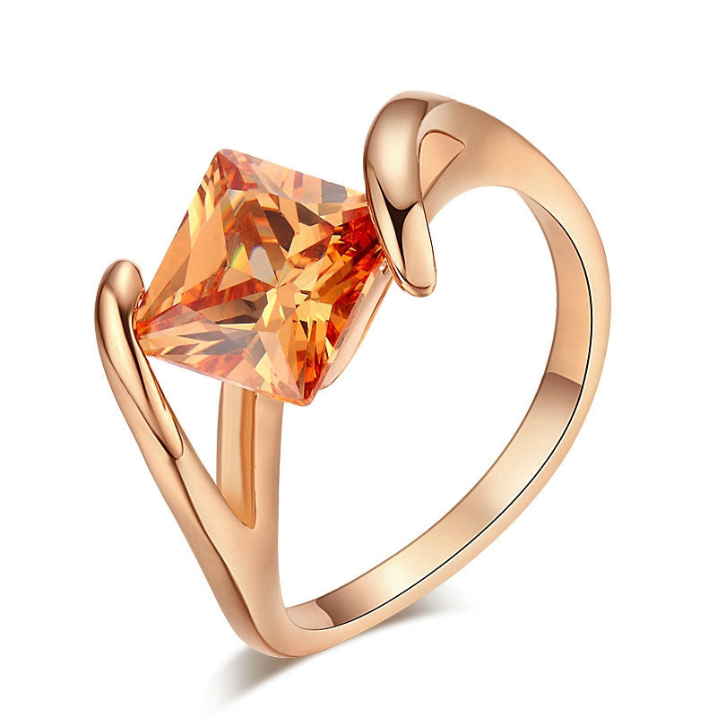 Top Quality Square Orangle Crystal Rose Gold Plated Fashion Ring Austrian Crystals Full Sizes
