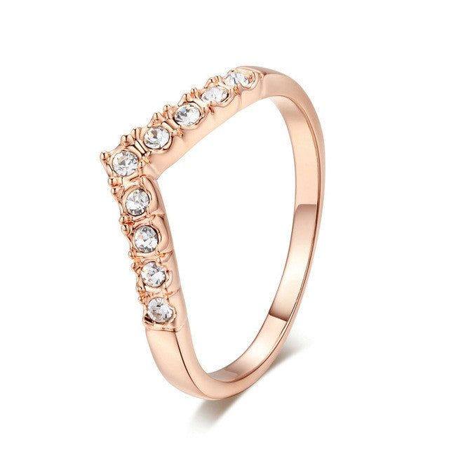 Top Quality 9 Stone Classic Wedding Ring Champagne Gold Plated Ring Austrian Crystals Full Sizes