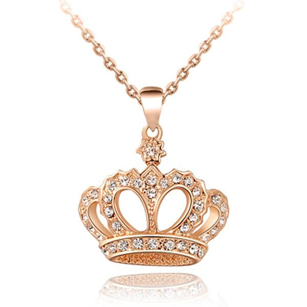 Top Quality Crown Necklace Rhinestone Crystal Silver Gold Plated Pendant Necklaces Classic Chokers Necklace Jewelry For Women