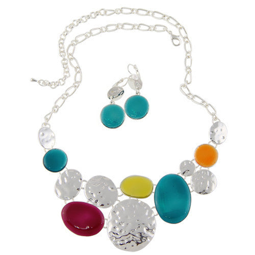 Top Quality Fashion Necklaces For Women 2015 Earrings Jewelry Sets Necklace And Earrings Set Blue&Yellow Enamel Pendants
