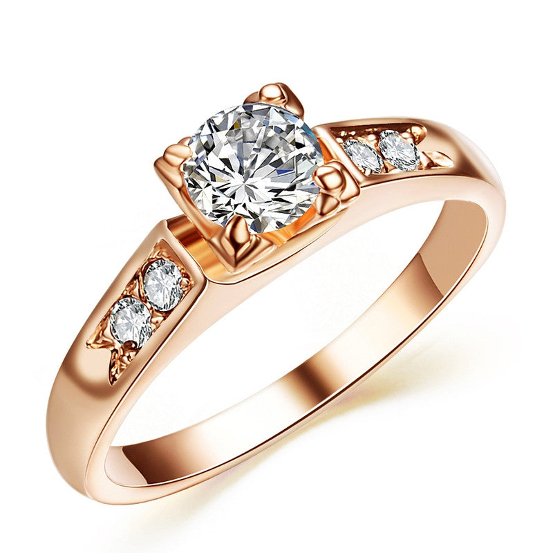 Top Selling High Quality Rose Gold Plated Fashion CZ simulated Diamond Wedding Rings
