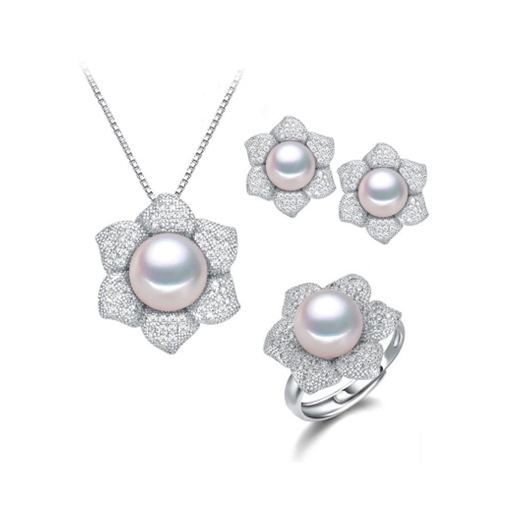 Top quality women pearl jewelry sets 11-11.5mm big size natural pearl 925 sterling silver wedding jewelry