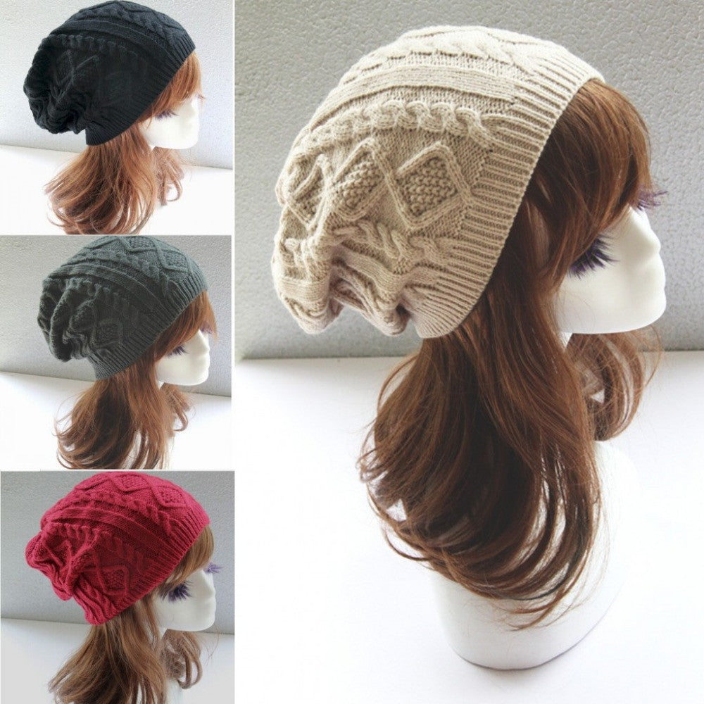 Chapeu Feminino Twist Pattern Women Winter Hat Knitted Sweater Fashion Hats For Women New Design Caps