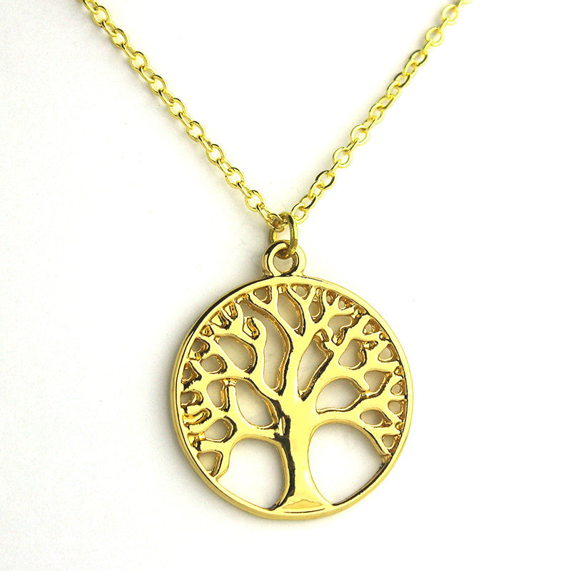 Tree Of Life Necklace Gold&Silver Plated Pendant Necklaces Memory Locket Charms Women Vintage Jewelry