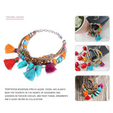 Trending Colorful Bohemia Multilayer Tassel Charms Bracelets & Bangles for Women Resin Rope Accessories Jewelry