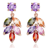 Trendy Colorful Crystal Stud Earrings Rose Gold Plated Leaves Flower Cubic Zircon Fashion Jewelry Earrings for Women