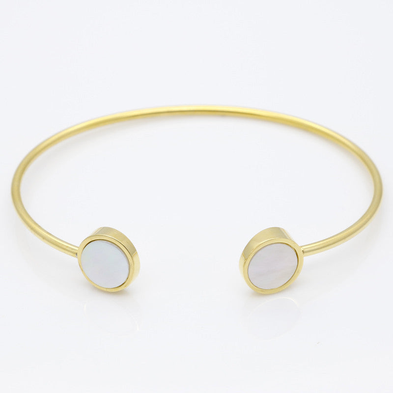 Trendy Geometric Double Round Shell Bracelet Plated 18K Gold Bangles Classic Fashion Jewellery Opening Design Bracelet For Women