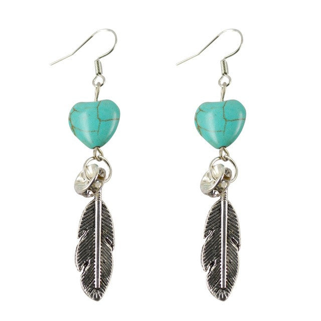 Trendy Long Tibetan Silver Feather and Heart Shape Earring Turquoise Wonderful Female Banquet Accessory