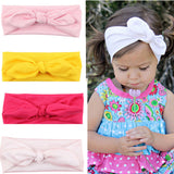 Trendy Lovely Rabbit Ears Bowknot Shaped Elastic Cloth Baby Girls Hairbands Children Hair Accessories