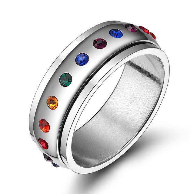 Trendy Rainbow Crystal Rings For Women And Men Stainless Steel Wedding Rings Female Party Jewelry