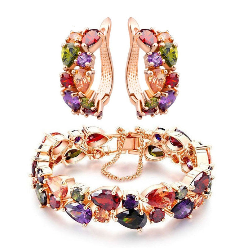 Trendy Shining Colorful Jewelry Sets CZ Diamond Bracelet&Earrings Rose Gold Plated Accessories Jewelry Sets for Bridal Wedding